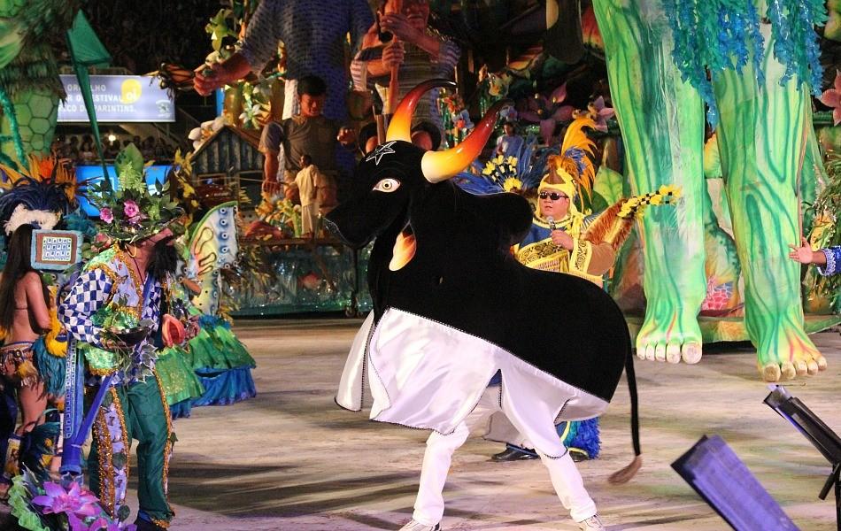 Evolução do bumbá agradou o público da festa (Foto: Frank Cunha/G1 AM)