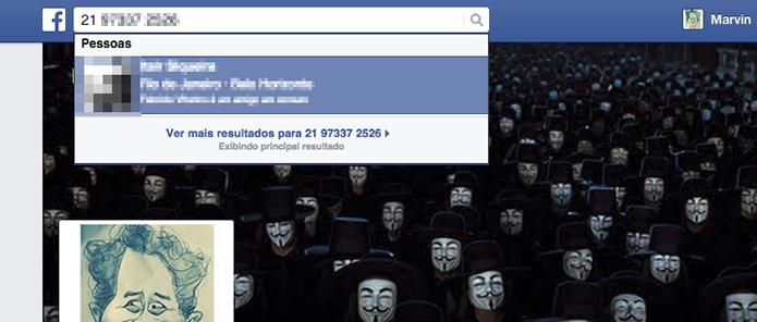 Encontrando um usuário do Facebook através de seu número de celular (Foto: Reprodução/Marvin Costa)