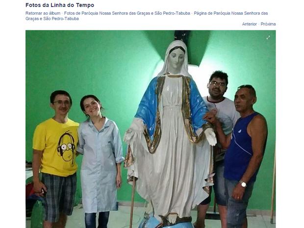 Imagem de santa que teve cabeça arrancada foi restaurada em Fortaleza (Foto: Reprodução/ Facebook)