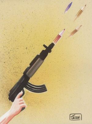 Cartoon de 2006, postado em pagina de Jessé numa rede social em homenagem aos mortos do ataque à Charlie Hebdo (Foto: Jessé Ribeiro / Arquivo pessoal)