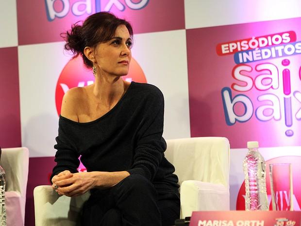 """Márcia Cabrita na coletiva de """"Sai de Baixo"""" (Foto: Iwi Onodera / EGO)"""