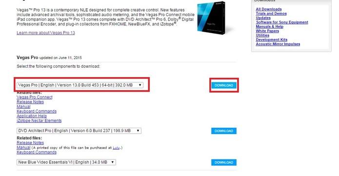 """Escolha o seu idioma e clique em """"Download"""" (Foto: Reprodução/Sony Vegas)"""