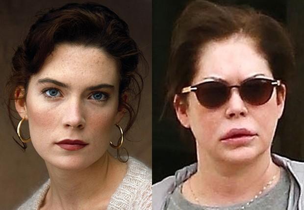 Lara Flynn Boyle nos anos 90 e em 2018 (Foto: Reprodução e BackGrid)
