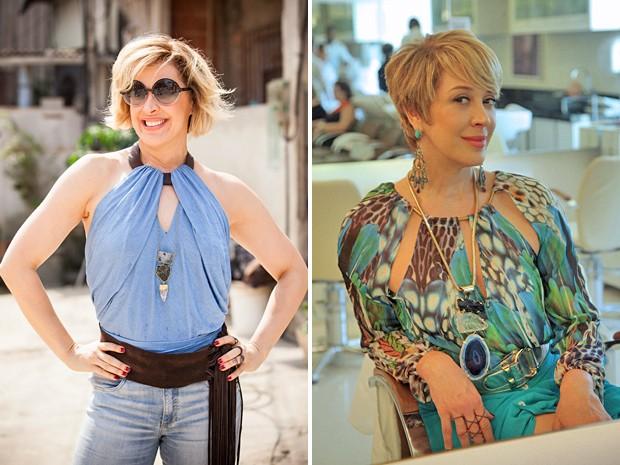 Samantha antes e depois da transformação (Foto: Raphael Dias e Artur Meninea / Gshow)