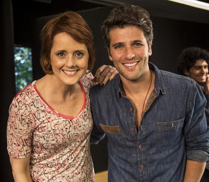 Bianca Ramoneda recebe Bruno Gagliasso no Ofício em Cena (Foto: Globo / João Cotta)
