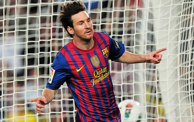 Comemoração Messi - Barcelona X Malaga (Foto: Ag. AFP)