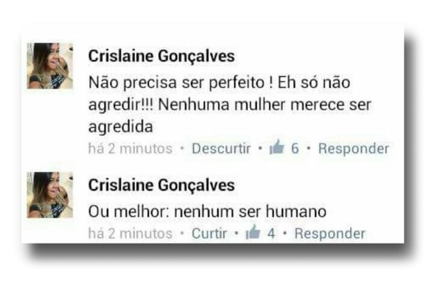 Mensagem postada no Facebook de Crislaine Gonçalves, namorada de Nego do Borel (Foto: Reprodução/internet)