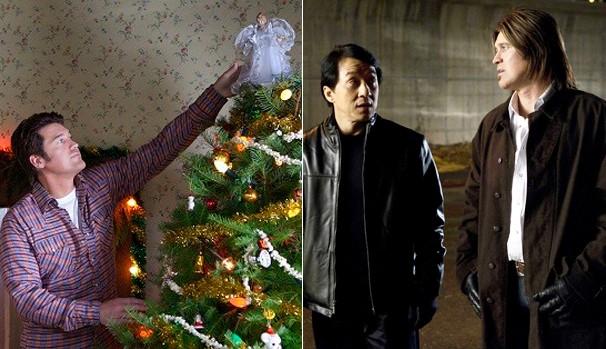 O ator em 'Natal em Canaã' (2011) e ao lado de Jckie Chan em 'Missão Quase Impossível' (2010) (Foto: Divulgação/Reprodução)