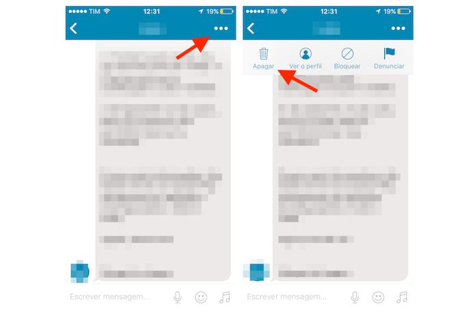 Usando a ferramenta para deletar uma conversa do Happn no iPhone (Foto: Reprodução/Marvin Costa)