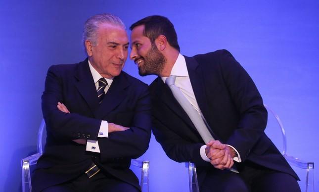 Michel Temer e Marcelo Calero (Foto: André Coelho)