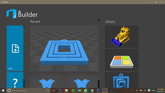 3D Builder é um programa gratuito embutido no Windows 10 (Foto: Reprodução/Elson de Souza)
