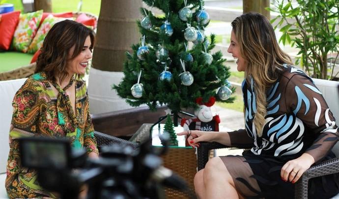 Marilucy e Jessica se divertiram durante a gravação  (Foto: Reprodução TV Diário / Nicolas Puglisi)