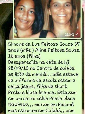 Mensagem com foto está sendo divulgada pela família de mãe e filha desaparecidas (Foto: Reprodução)