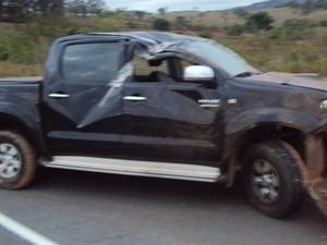 Acidente com cantor sertanejo Dalvan na BR-494 em Carmo da Mata (Foto: Polícia Militar Rodo)