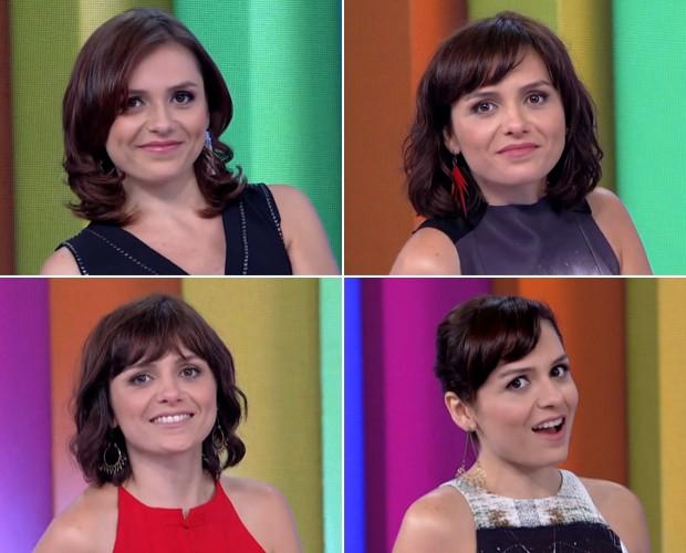 Monica Iozzi exibe diferentes penteados no Vídeo Show (Foto: Vídeo Show / TV Globo)