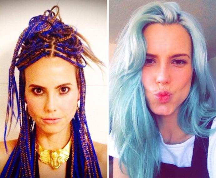 Lívia de Bueno também teve o cabelo com dreadlocks e azul para viver papeis no cinema e teatro (Foto: Arquivo Pessoal)