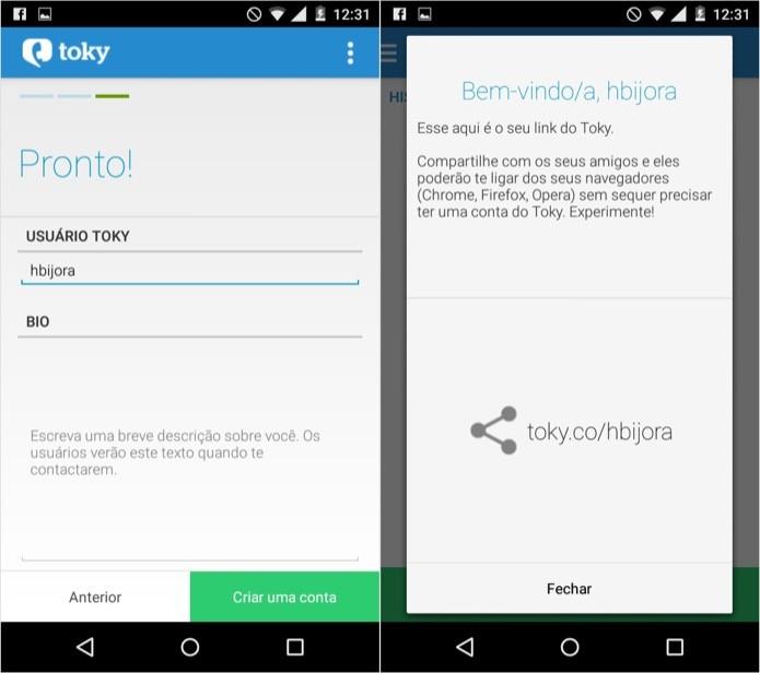 Compartilhe o seu link do Toky com seus amigos (Foto: Reprodução/Helito Bijora)