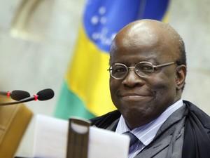 Presidente do STF, Joaquim Barbosa, anunciou, na abertura da sessão plenária do STF sua decisão de se aposentar do cargo de ministro, em junho (Foto: Nelson Jr./SCO/STF )