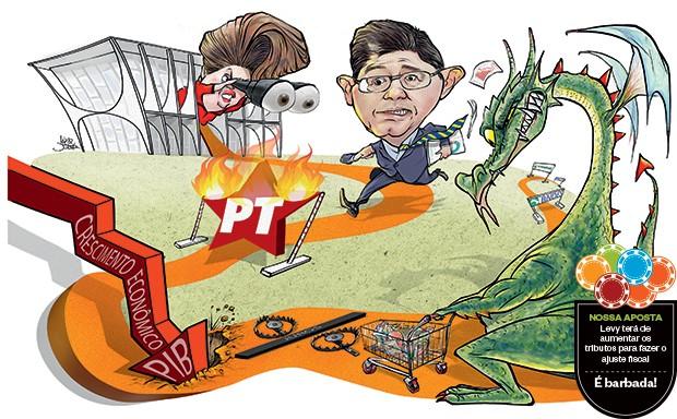 Ilustração Levy e Dilma  (Foto: Ilustração: Lezio Junior)
