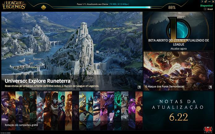 Aguarde a transferência dos arquivos do League of Legends (Foto: Reprodução/Murilo Molina)