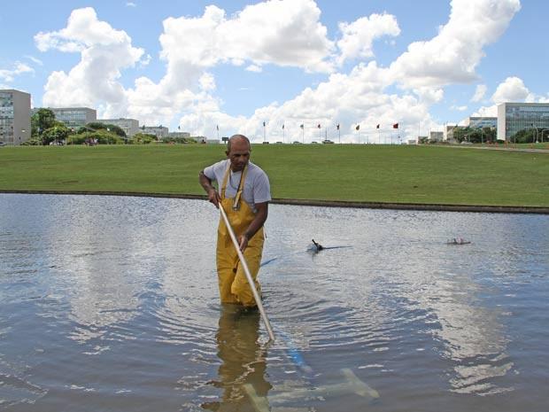 o auxiliar de serviços gerais Claudino Barbosa de Souza limpa o espelho d'água do Legislativo neste Natal (Foto: Vianey Bentes/TV Globo)