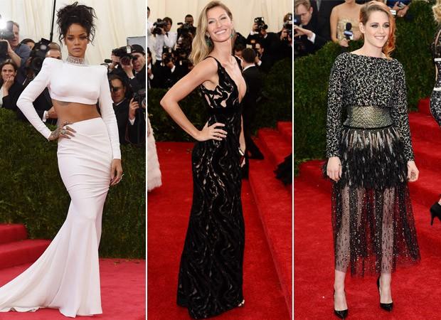 Looks no MET Gala - Rihanna, Gisele Bundchen e Kirsten Stewart (Foto: Agência AFP)