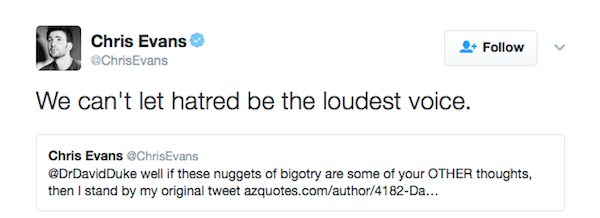 A reação de Chris Evans à resposta de David Duke (Foto: Twitter)