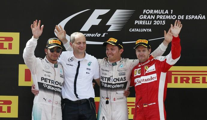 Lewis Hamilton, Nico Rosberg e Sebastian Vettel no pódio do GP da Espanha (Foto: Reuters)