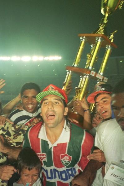 Renato Gaúcho comemora título carioca Fla-Flu 1995 Gol de Barriga (Foto: Conteúdo Estadão)