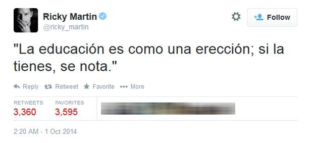 Ricky Martin causa polêmica por comparar educação com ereção (Foto: Reprodução/Twitter)