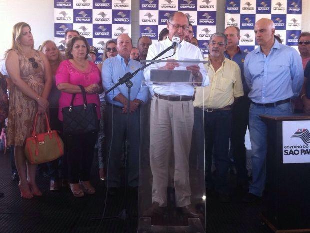 Alckmin inaugura duplicação de rodovia (Foto: Gabriele Gabas / TVTEM)
