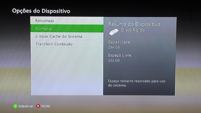 Selecione formatar para apagar os dados do Xbox 360 (Foto: Reprodução/Tais Carvalho)