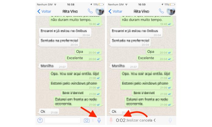 Cancelando um gravação de voz do WhatsApp no iPhone (Foto: Reprodução/Marvin Costa)