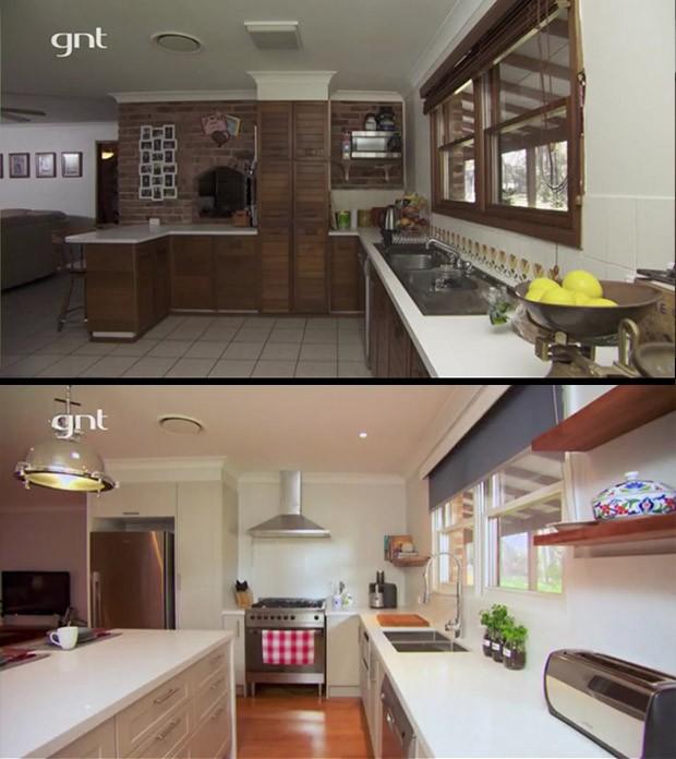 Antes e depois, rei da reforma, sala, cozinha (Foto: Divulgao/GNT)