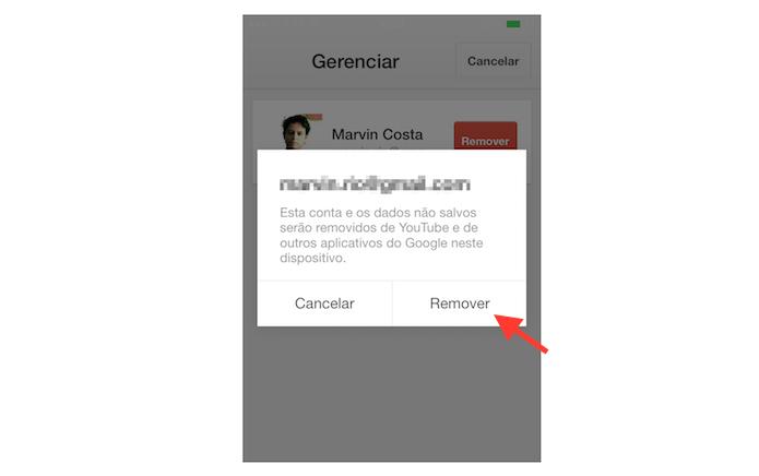 Removendo uma conta do YouTube do aplicativo para iPhone (Foto: Reprodução/Marvin Costa)