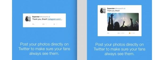 Mensagem enviada pelo Twitter mostra diferença entre postar link do Instagram e carregar foto direto no microblog (Foto: Reprodução/ Mashable) (Foto: Mensagem enviada pelo Twitter mostra diferença entre postar link do Instagram e carregar foto direto no microblog (Foto: Reprodução/ Mashable))