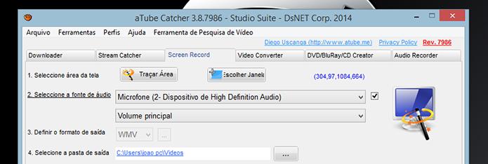 Iniciando a configuração de captura de tela do Atube Catcher (Foto: Reprodução/Marvin Costa)