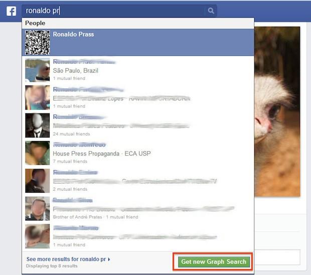 Novo campo de buscas do facebook dá espaço para a 'busca social'. (Foto: Reprodução)