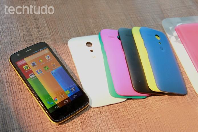 Moto G tem processador quad-core, Android KitKat e tela HD (Foto: Allan Mello/TechTudo)