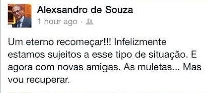 Cpitão do Coritiba lamenta contusão no Facebook (Foto: Reprodução/ Facebook)