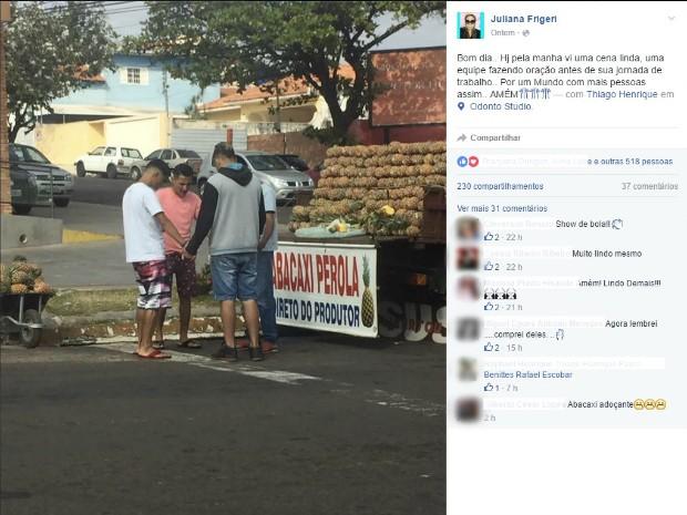Vendedores de abacaxi são flagrados em oração e foto ganha a web em MS (Foto: Reprodução/Facebook)