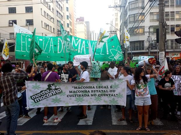 Manifestantes realizam Marcha da Maconha no Centro de Campinas (Foto: Giulia Cirilo/G1 Campinas)