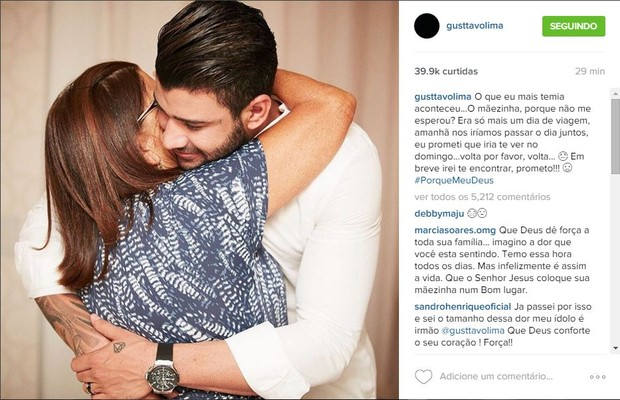 Gusttavo Lima faz post em homenagem a mãe, Sebastiana (Foto: Reprodução/Instagram)