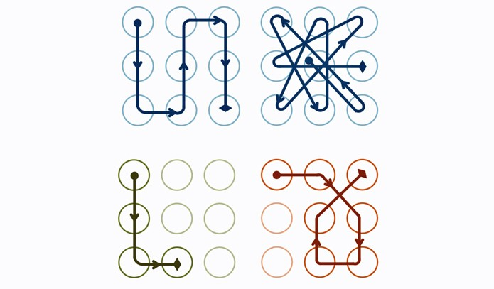 Repare na primeira combinação: ela liga nove pontos de maneira muito simples. Ao lado, uma opção com nove ligações muito mais difícil de decifrar (Foto: Divulgação/Marte Loge)