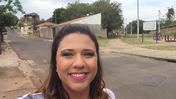 Katiuscia Reis visita a Vila Geni, em Prudente (Foto: Reprodução TV Fronteira)