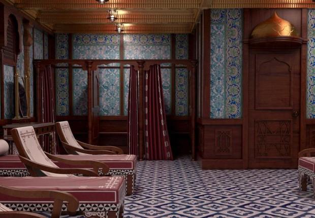 A sala de banho turco foi copiada do Titanic original para o transatlântico, que fará sua viagem inaugural em 2016 (Foto: Divulgação/Blue Line)