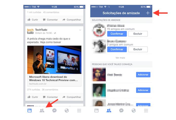 Acessando a página de solicitações de amizade do Facebook para iOS (Foto: Reprodução/Marvin Costa)