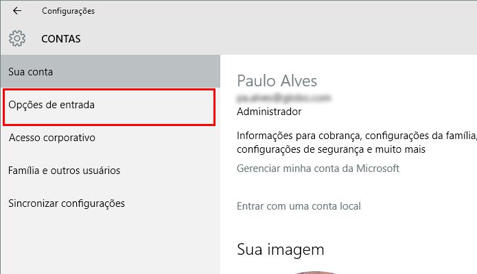 O Windows Hello pode ser acessado no menu Opções de Entrada (Foto: Reprodução/Paulo Alves)