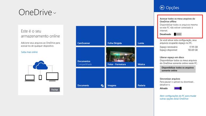 OneDrive para Windows 8 também oferece a opção de tornar todos os arquivos offline (Foto: Reprodução/Elson de Souza)