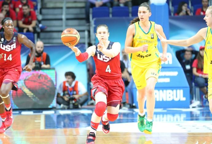 Lindsay Whalen em ação contra as australianas  (Foto: Team USA )